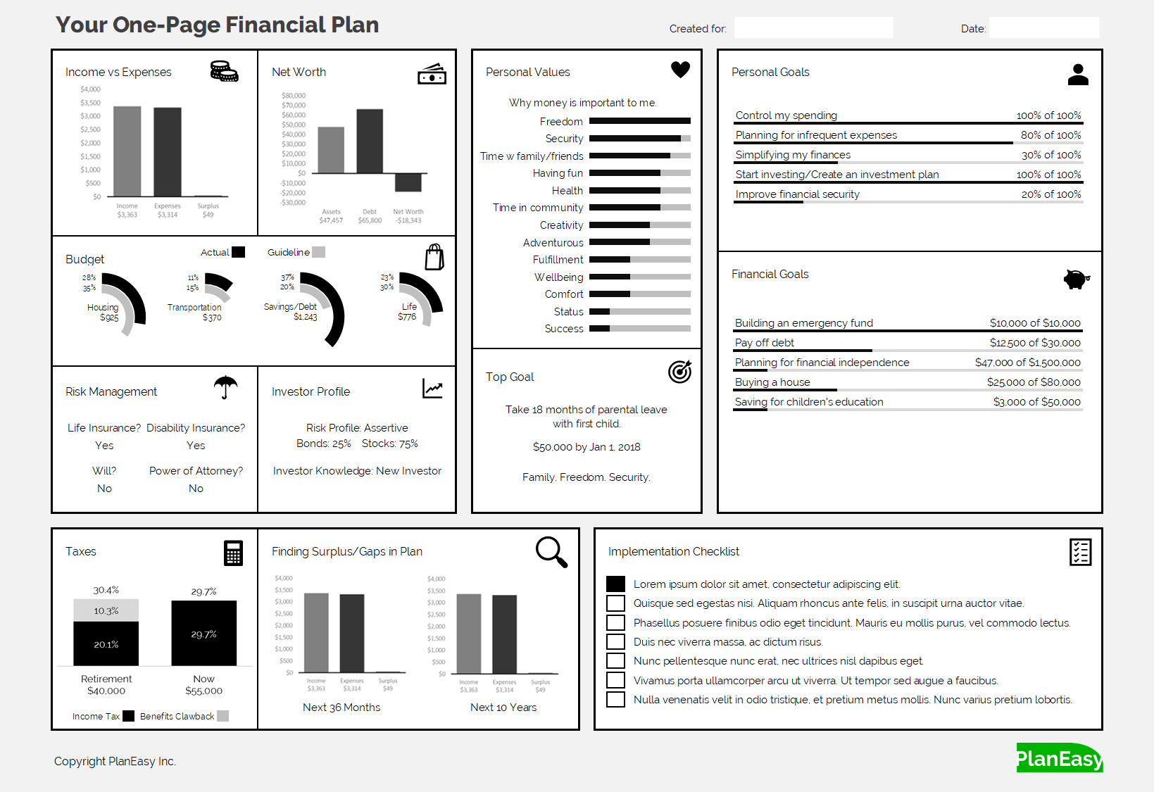 One Page Financial Plan Planeasy