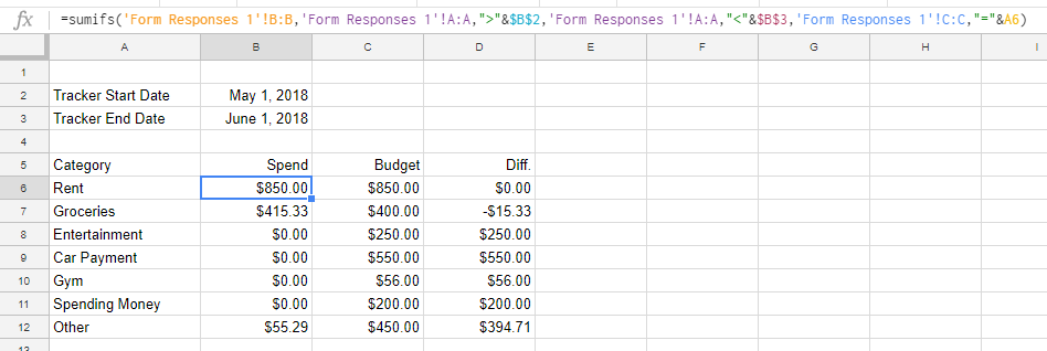 step 13 setup spend tracker and add formula v2 planeasy